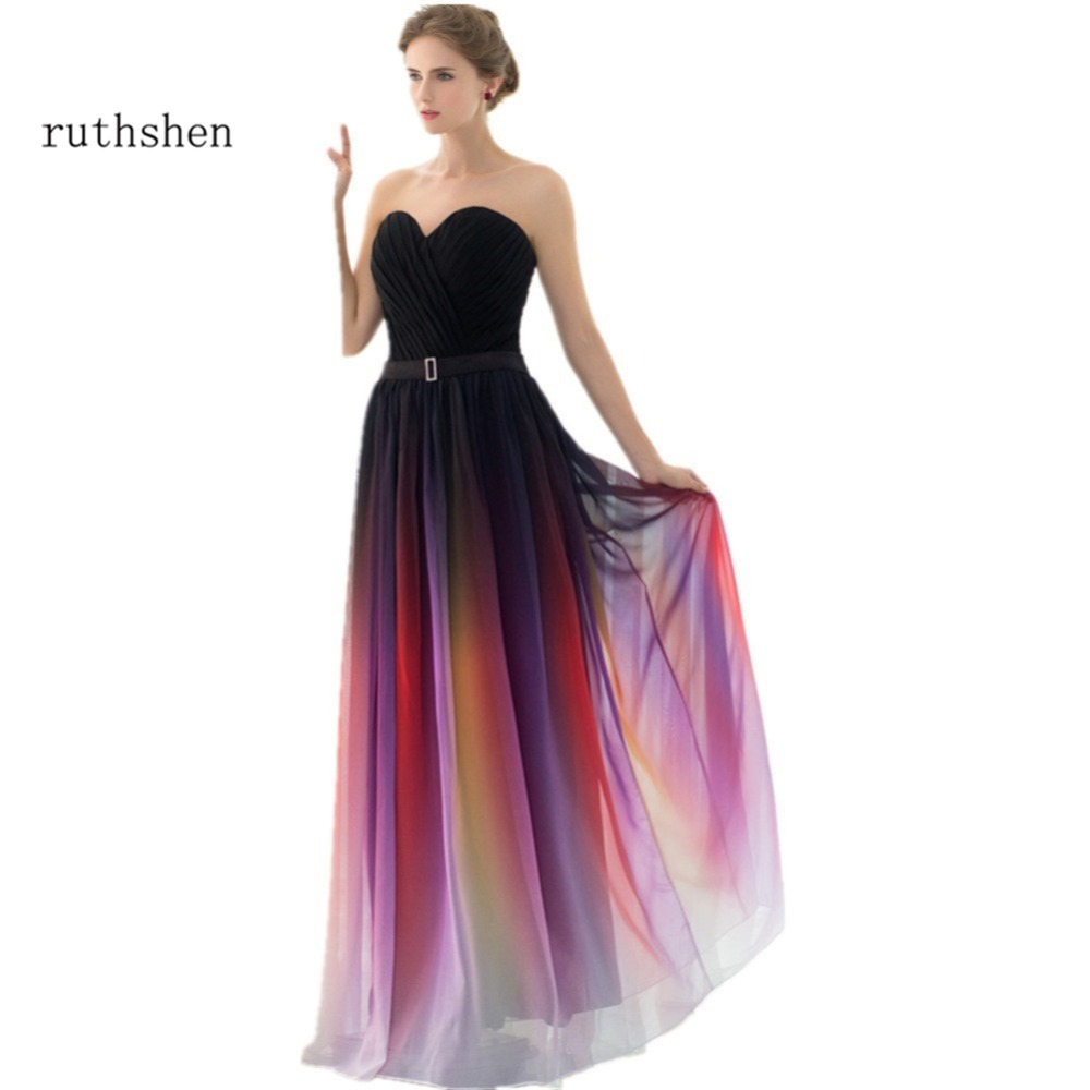 ruthshen 2018 Cheap Gradient Prom Dresses Sweetheart Pleats Draped Ombre Chiffon Real Sample Evening Gowns Vestidos