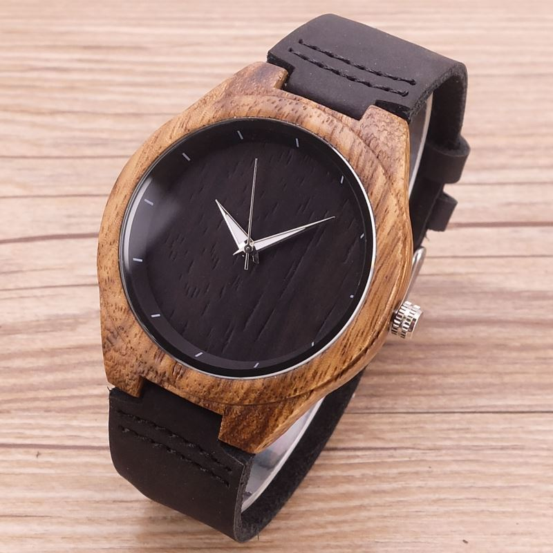 New Arrival Black dial Wooden Bamboo Wrist Watch Men's Sports Simple Quartz Watch Male Casual Clock With Genuine Leather simple minimalism casual men quartz wristwatch number dial genuine leather band cost effective natural wooden design male watch