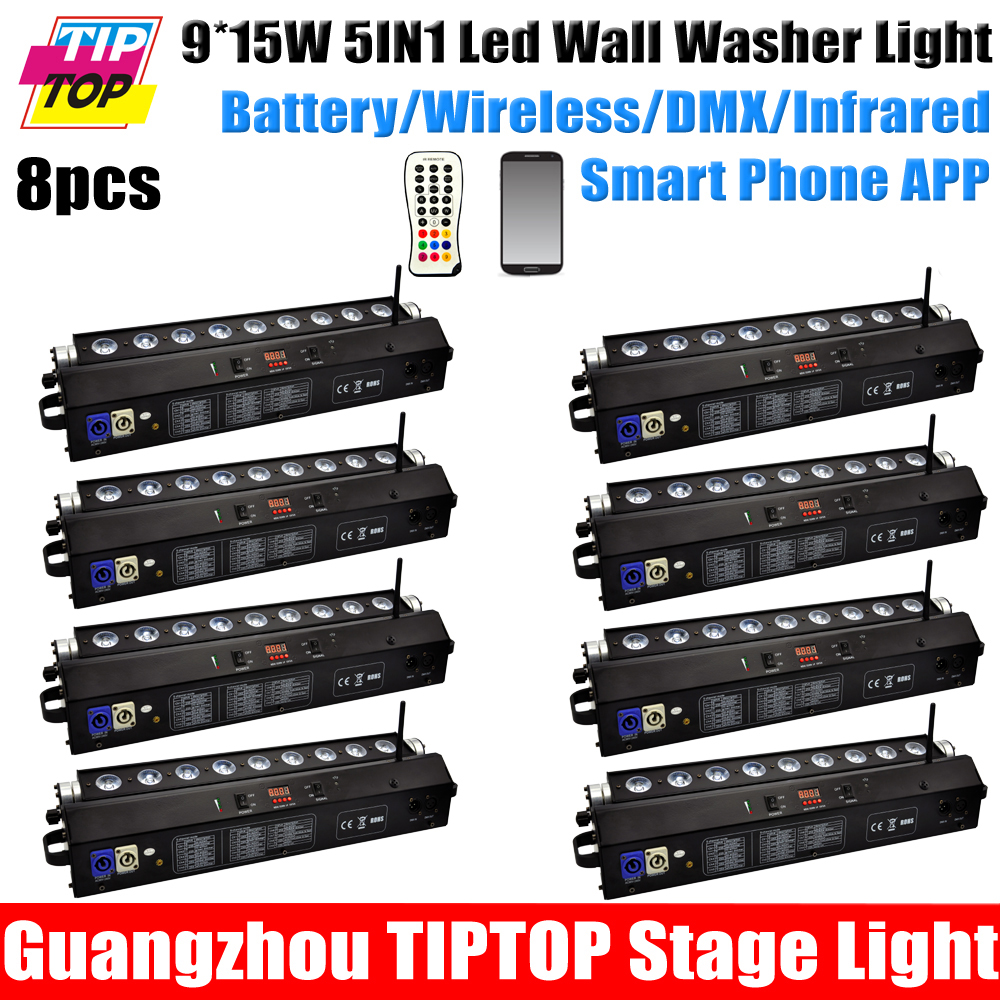 Freeshipping 8 Unit Original 9*15W High Quality Smartline Battery Powered Wireless DMX 5in1 LED Wash Lighting Bar Phone Control