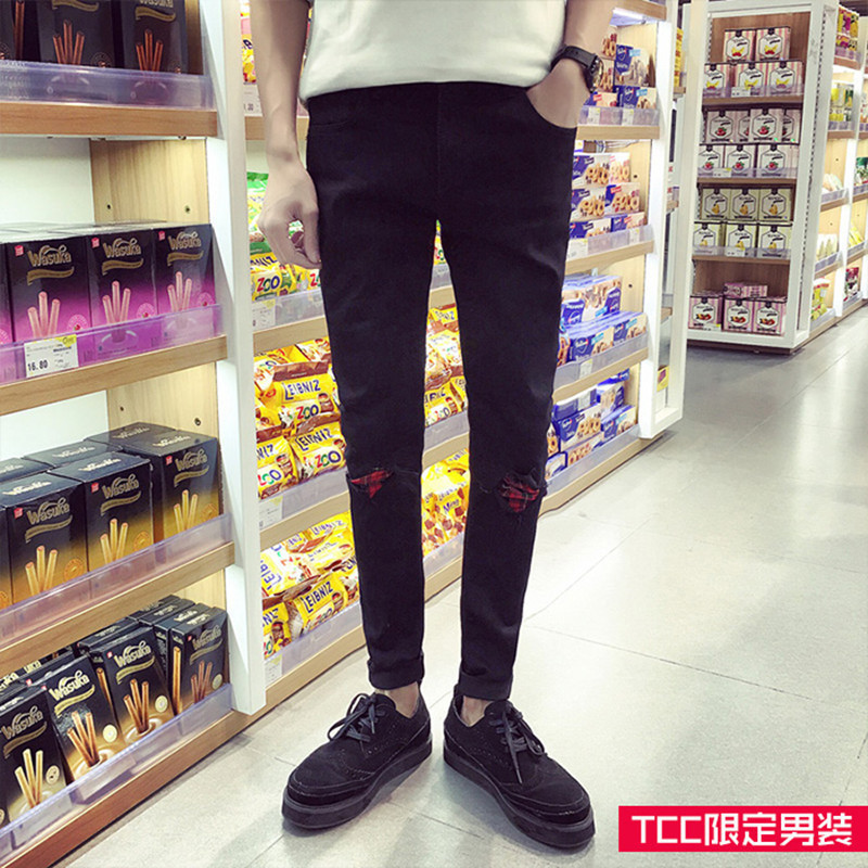 Fashion 2018 Spring Spliced loaded knee Black patchwork hole jeans male black feet pants show thin Teenagers Pencil Pants