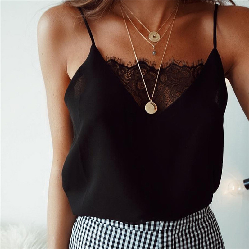 Fashion womens tops and blouses summer 2018 Lace Sexy Vest simple Camisole Sleeveless solid Shirt femmes camicette Y18#N (3)