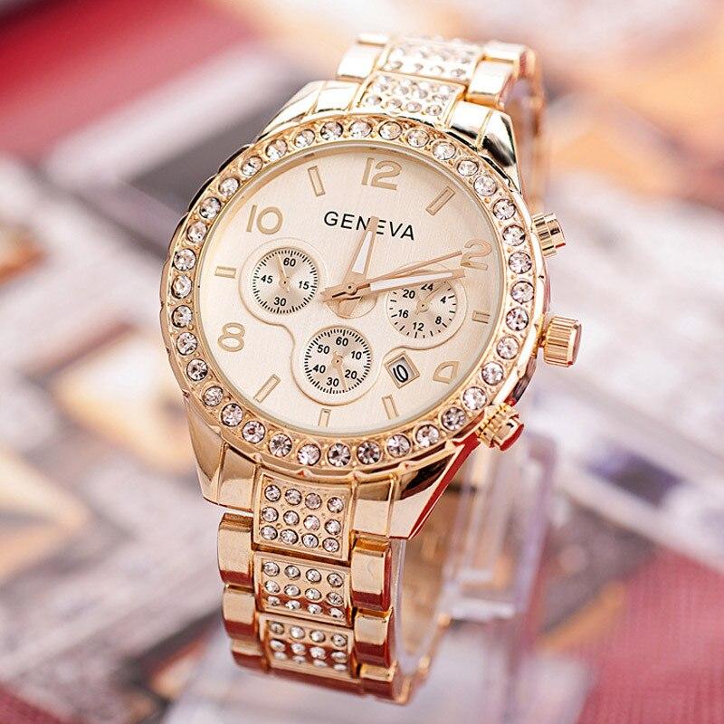 Watches Women Fashion Luxury Brand Ladies Gold Steel Quartz Watch Geneva Casual Crystal Rhinestone Wristwatches Relogio Feminino diamond stylish watches for girls