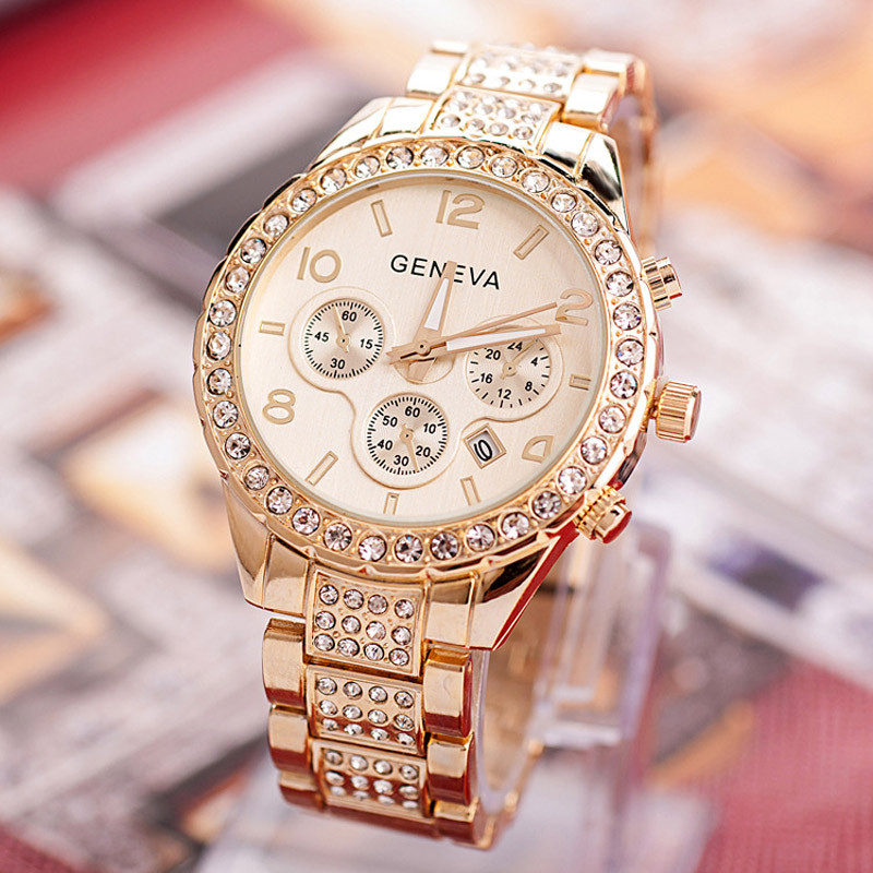 Watches Women Fashion Luxury Brand Ladies Gold Steel Quartz Watch Geneva Casual Crystal Rhinestone Wristwatches Relogio Feminino luxury brand gold watches women quartz dress watches fashion ladies stainless steel rhinestone crystal analog wristwatches ac026