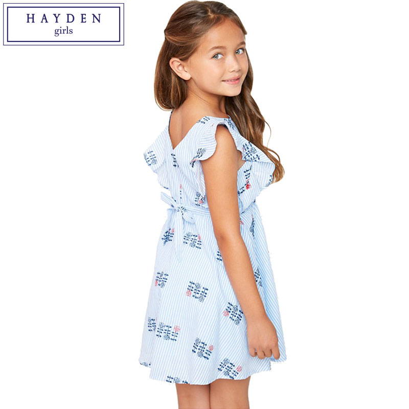 Hayden Girls Ruffle Sleeve Dress Kids Floral Embroidery -6853