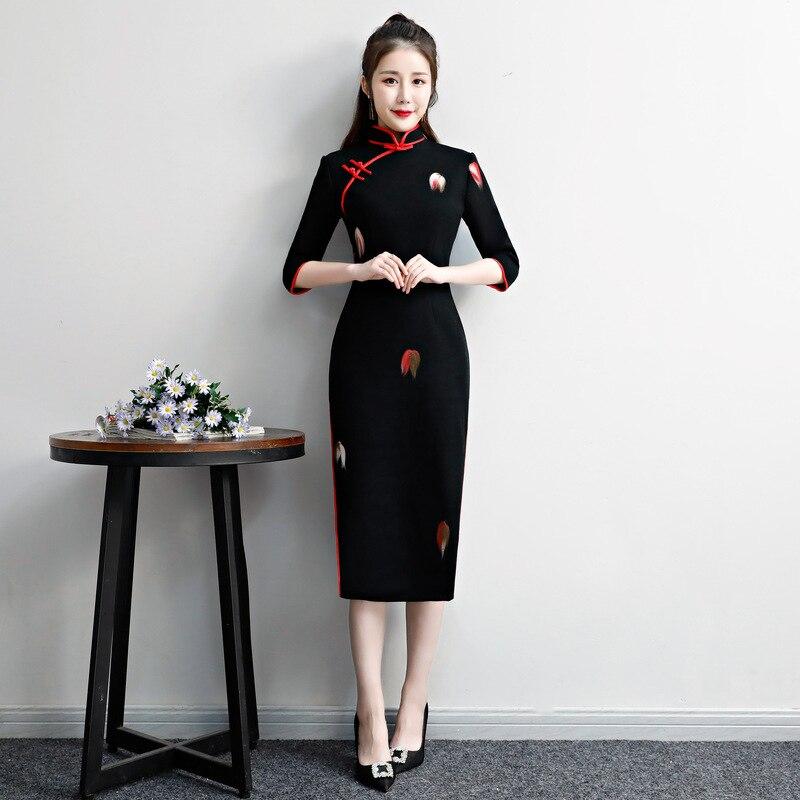 Winter Ladies Woolen Slim Cheongsam 4 Colors Chinese Vintage Qipao Elegant Female Casual Dresses Mandarin Collar Vestidos