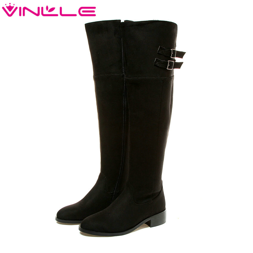 VINLLE 2016 Zipper Classic PU Leather Women Shoes Square High Heel Over The Knee Boots Buckle Ladies Long Solid Boots Size 34-43 vinlle 2017 women pumps college style square med heel vintage slip on pu leather shoes casual round toe girl shoes size 34 40
