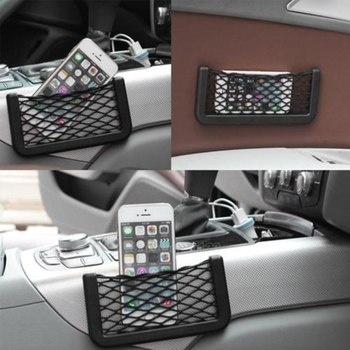 1PC Universal Car Seat Side Back Storage Elastic Mesh Net Bag Phone Holder Pocket Organizer 15*8cm image