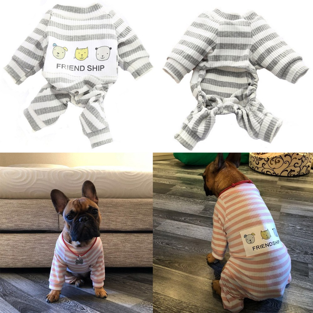Pet Dog Clothes Striped Dog Jumpsuit Pajamas Dog Coats Dog Clothing french bulldog Chihuahua Puppy Knitted Coat Pet Apparel