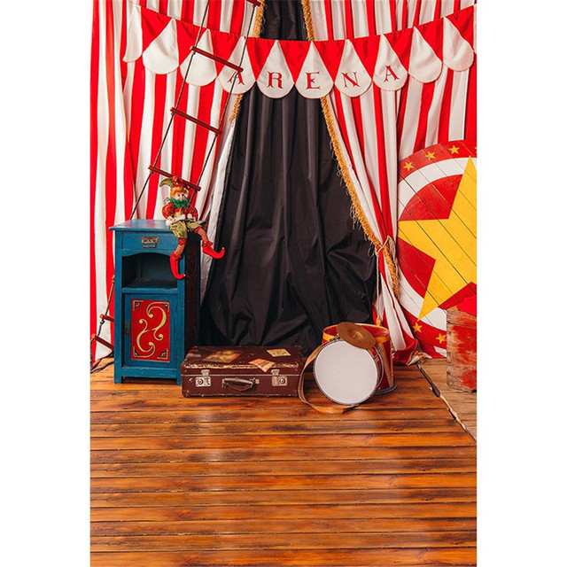 Baby Kids Birthday Party Circus Backdrop Printed White Red Striped Curtains Suitcase Children Photography Background Wood
