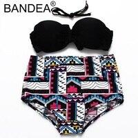 BANDEA Bikini 2017 Black Bikinis Biquini Solid Swimwear Women Retro Floral Print Swimsuit Sexy Bikini
