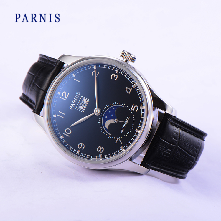 Parnis 43mm Mechanical Wristwatch Automatic Power Reserve Men Watch Moon Phase Auto Date Black Dial Silver