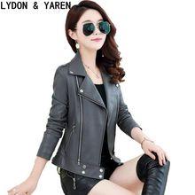 girl leather jacket coat 2017 spring leather coat lady clothes slim large size design rivet women's leather clothing
