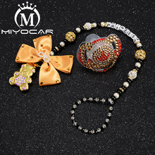 MIYOCAR personalized name bling gold pacifier clip holder  with set unique gift SP015