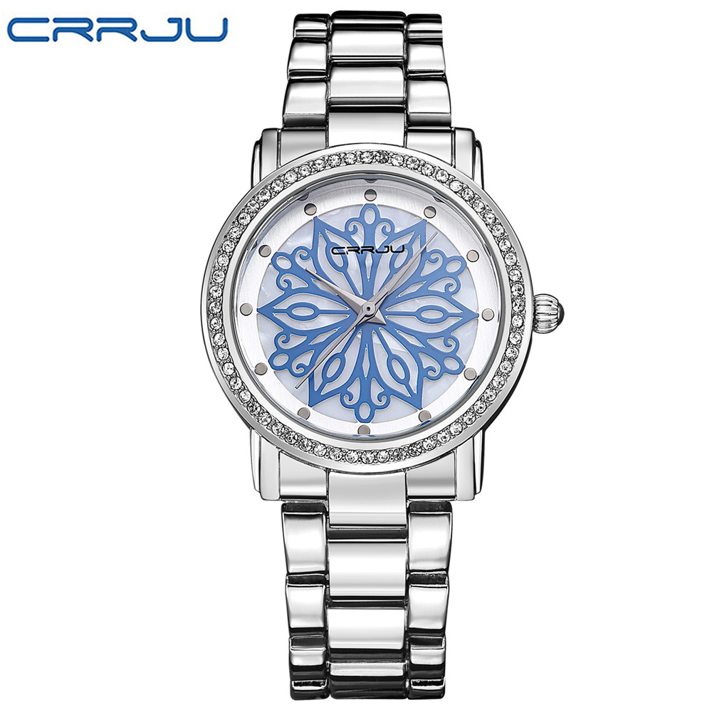 New Fashion CRRJU Luxury Brand Women Casual Waterproof Stainless Steel Watch Ladies Dress Quartz Watches Relogio Feminino Clock  2016 new high quality women dress watch crrju luxury brand stainless steel watches fashion wrist gift watch men wristwatches