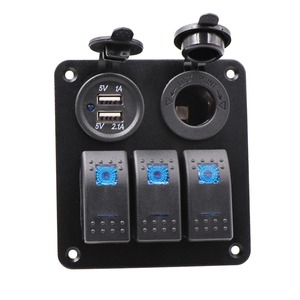 3 Gang Switch Panel 12 V Waterproof Boat Marine Car Rocker Control Switch Panel with Blue LED Light +Dual USB Charge Port