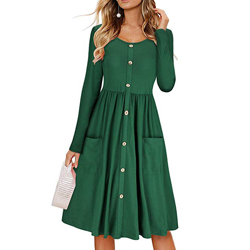 Vintage Dress Casual Long Sleeve Button Pockets Dresses Women High Quality Fall Fashion A-Line Party Dress For Female