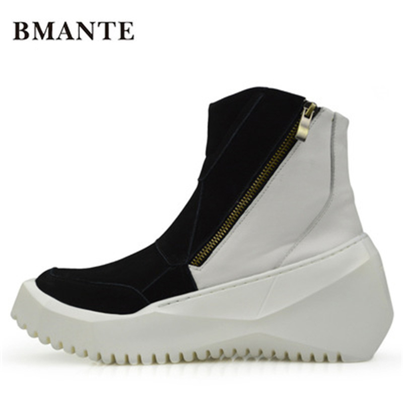 Men Genuine Leather Mixed Colors Shose Trainers New Male Adult Ankle Fur Boots Casual Zip Flats High Spring Black Sneaker