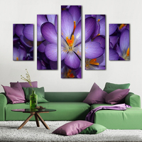 5 Pieces Unframed High Definition Purple Flowers Painting Modular High Quality Canvas Printing Wall Art Home