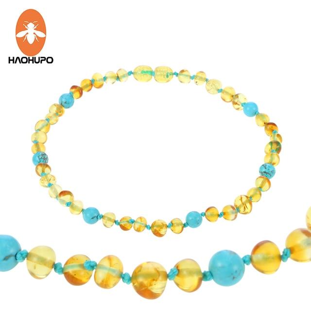 HAOHUPO 16 New Design Amber Bracelet/Necklace Baby Teething Natural Amber Beads