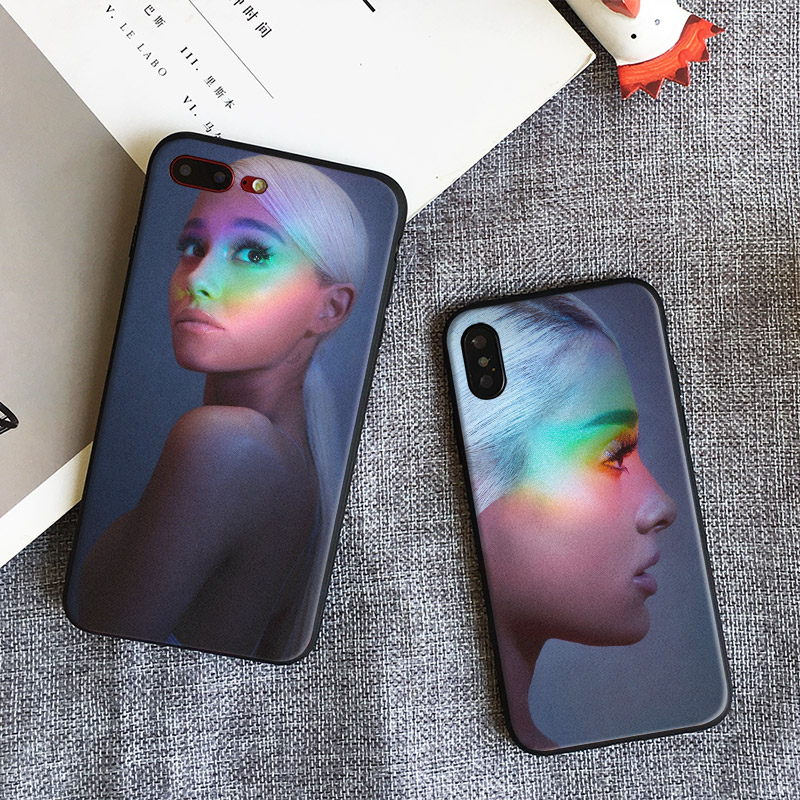 <font><b>Ariana</b></font> <font><b>Grande</b></font> AG Rainbow Sweetener Coque Soft Silicone Phone <font><b>Case</b></font> Cover Shell For Apple <font><b>iPhone</b></font> 5 5s Se 6 <font><b>6s</b></font> 7 8 Plus X XR XS MAX image
