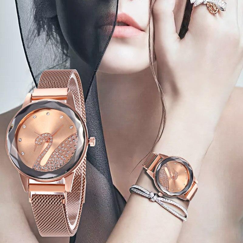 WJ-8545 Creative Swan Watch Women Luxury Gold Diamond Crystal Quartz Lady Wrist Watch Waterproof Female Wristwatch Montre Femme
