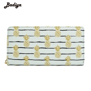 Women Lovely Pineapple Pine Nuts Printing Long Wallet Girl Teenager Casual Coin Purse Phone Case Card Holder Bag Female Carteira wallet