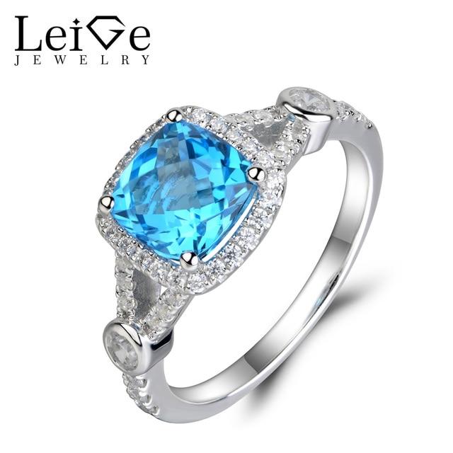 Leige Jewelry Swiss Blue Topaz Ring 925 Sterling Silver Blue Topaz Wedding  Engagement Rings For Women