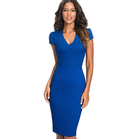 Women Elegant Slim Work Office Business Solid Party Jacquard Dress Sexy V Neck Bodycon Summer Pencil
