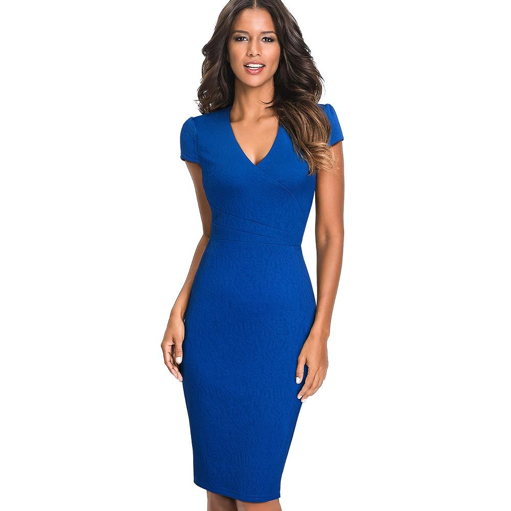 Women Elegant Slim Work Office Business Solid Party Jacquard Dress Sexy V Neck Bodycon Summer Pencil Dress EB435