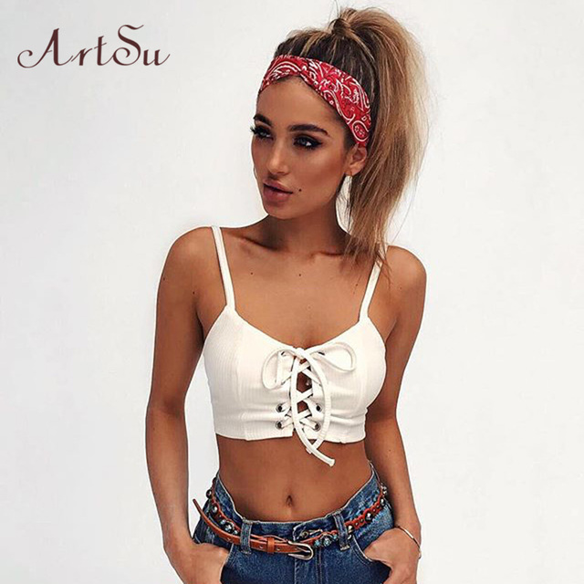 05fa257ade3e6c ArtSu 2017 Women Cami White Rib Sexy Lace Up Crop Top Fashion Women Tops  Summer Fitness