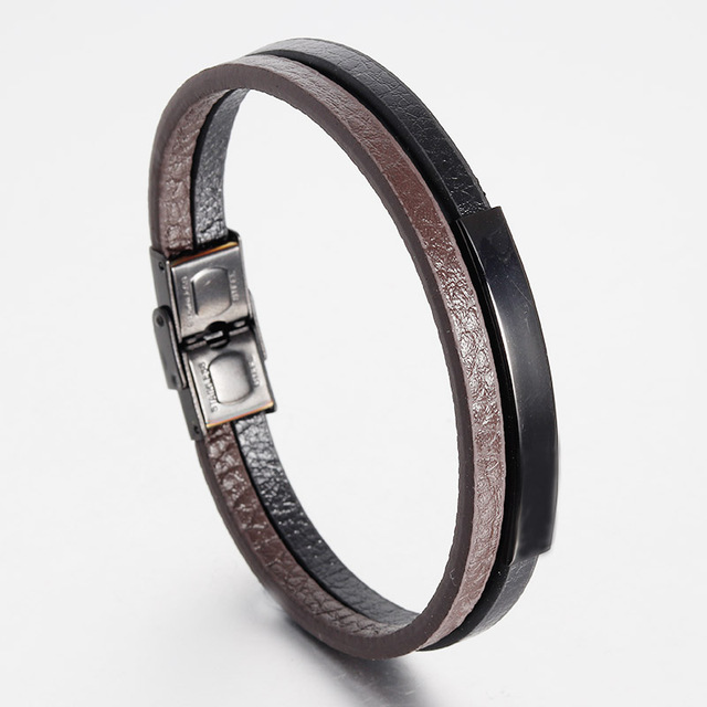 Men Jewelry Double Leather Bracelet  Stainless Steel Bangle Toggle-clasps Clasp Brown Black Braid Rope Chain Male Gift