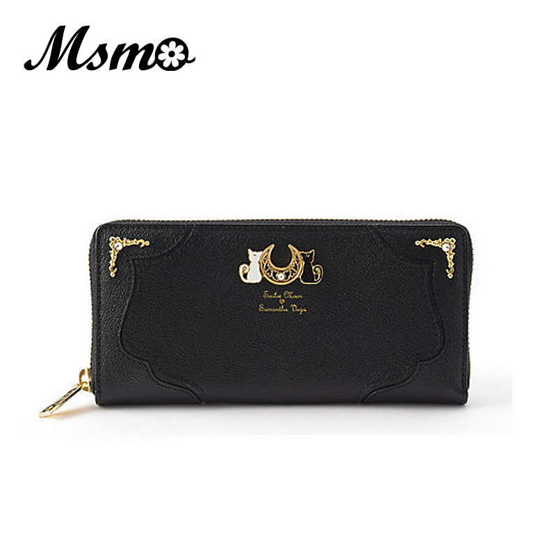 MSMO New Fashion Sailor Moon Samantha Vega Luna Cat Wallet Kawaii Long Purse Cute Ladies PU Leather Wallet Black/White 8 Color