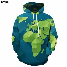 KYKU 3d World Map Hoodie Men Hip Hop Hooded Cartoon Hoodies Green Geometric Print Sweatshirt Pullover Fashion Mens Clothing