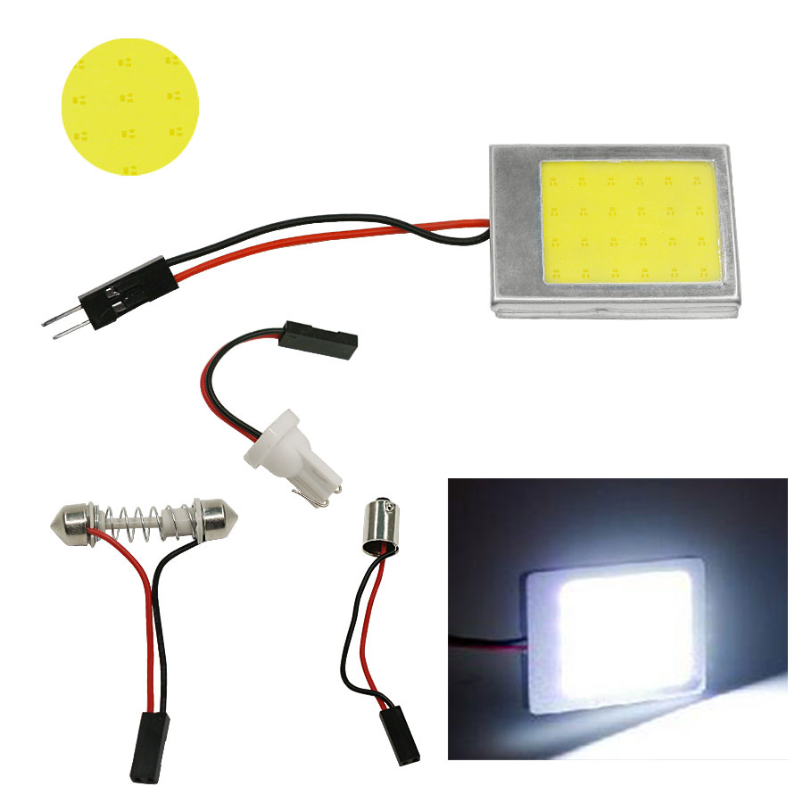 2 Sets T10 24 SMD COB LED Panel Dome Festoon BA9S Car Auto Interior car TOP Lamp Light Source White Color Free Shipping New