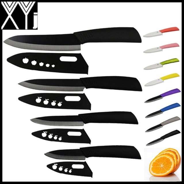 Xyj marca qualità globale 3, 4, 5, 6 pollice  Lama di ceramica set coltelli da cucina nero lama nero colori maniglia con fodero  Zirconia