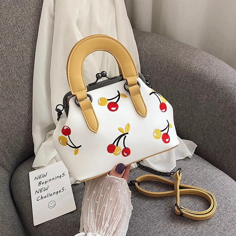Cherry embroidery  Fashion Shell Bag Women Shoulder Crossbody Bolsos Mujer De Marca Famosa 2019 High Quality Ladies Hand