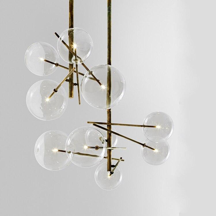 Moderno e minimalista Luzes De Teto Rotativo Lâmpada Led Rodada luzes Bola De Vidro Pendurado Criativo ferro Led G4 lâmpada Interior Home Bar ouro - 5