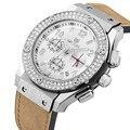 MEGIR Cronógrafo de Los Hombres Reloj de Cuarzo Relojes de Oro Relojes de Los Hombres Del Ejército de Cuero multifunción Relojes Deportivos Reloj Hombre 2016