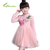 Embroidery Flowers Pattern Lace Girls Dress New Spring Long Sleeve Children S Clothing Chinese Style Fashion
