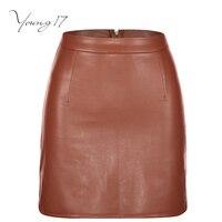 Young17 PU Mini Skirt Spring Coffee Color Plain Pocket High Waist Skirt Women Solid Elegant Sexy
