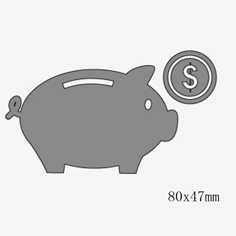 Piggy Bank Die Cut Metal Cutting Dies Stencils Scrapbooking Embossing Card DIY