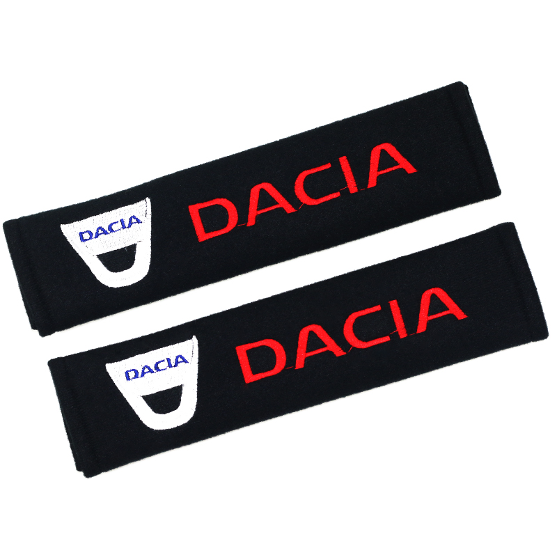 2pcs Car Safety Belt embroidery pattern covers seat belt fit for Dacia Car-styling