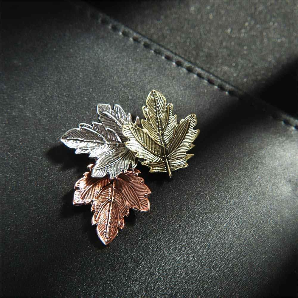 1Pc Maple Leaf Spilla In Metallo Vintage Ragazza Delle Donne CharmingExquisite Collo Con Revers Spille Gioelleria raffinata e alla moda del partito di Accessori di Abbigliamento