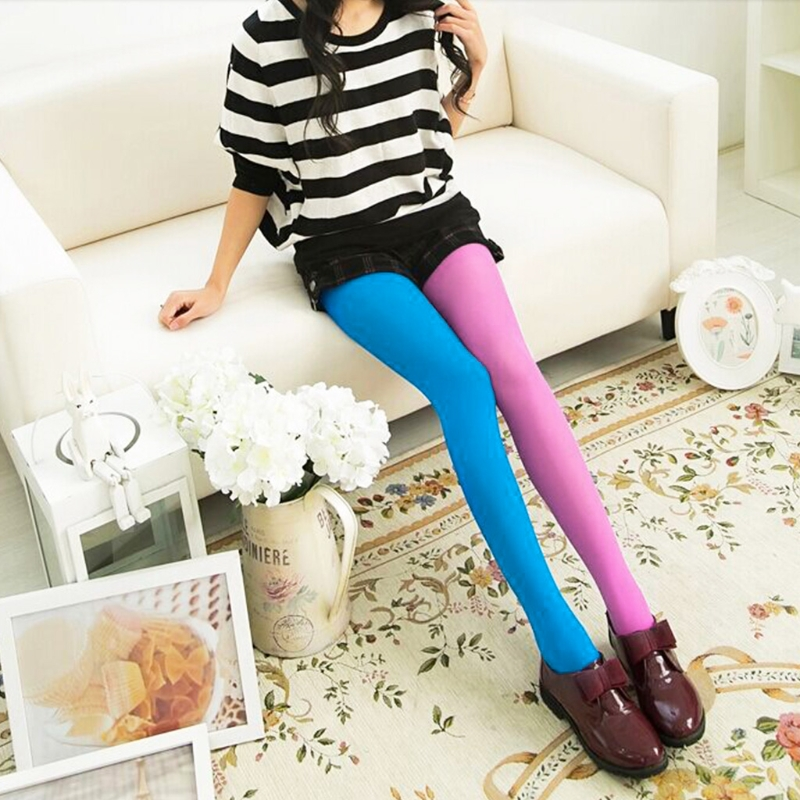 Womens Stockings Different Candy Color Patchwork Pantyhose Slim Elastic Tights Stockings