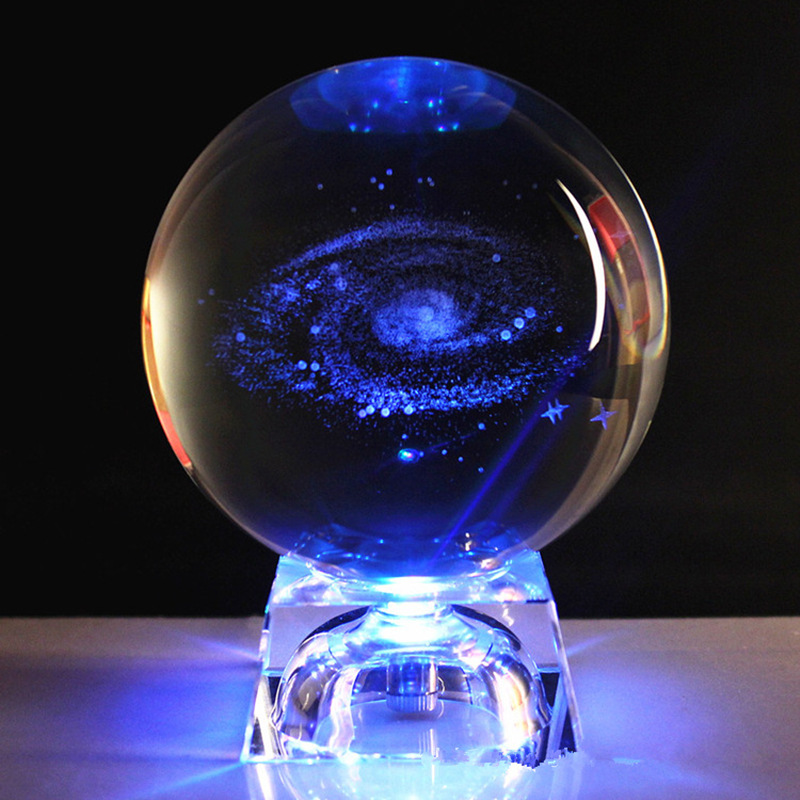 60/80mm 3D Laser Engraved Galaxy Crystal Ball Miniature Model Crystal Craft Glass Ball Stand For Home Decor Gift Drop Shipping