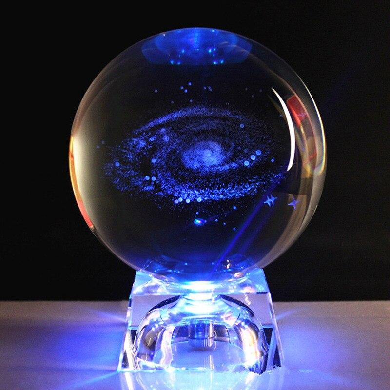 60/80mm 3D Laser gravé galaxie boule de cristal Miniature modèle cristal artisanat verre boule Stand pour la décoration de la maison cadeau livraison directe