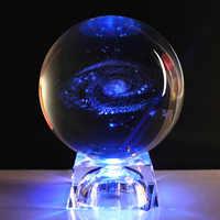 60/80mm 3D láser grabado galaxia cristal bola miniatura modelo cristal artesanía vidrio bola soporte para decoración del hogar regalo envío caída