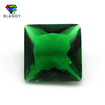Wholesale price 12x12mm Square Cut Synthetic Glass Gems Loose Green Glass Stone For Jewelry