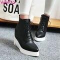 Vallkin pu ocio zapatos de las mujeres botas de cordones de tobillo botas de tacón cuñas plataforma zapatos aumento de la altura botas de color beige tamaño 34-39