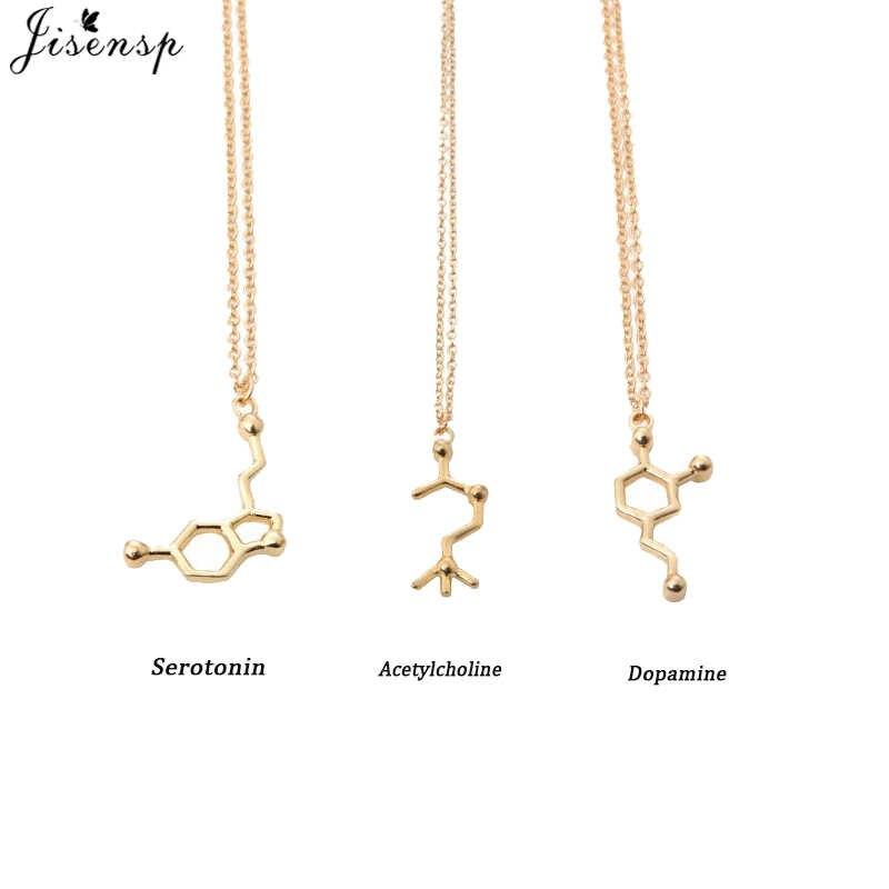 Jisensp moda acetylocholina dopamina kobiety naszyjnik nauka chemiczna biżuteria biologia chemiczne bijoux femme mężczyźni prezent z okazji ukończenia szkoły